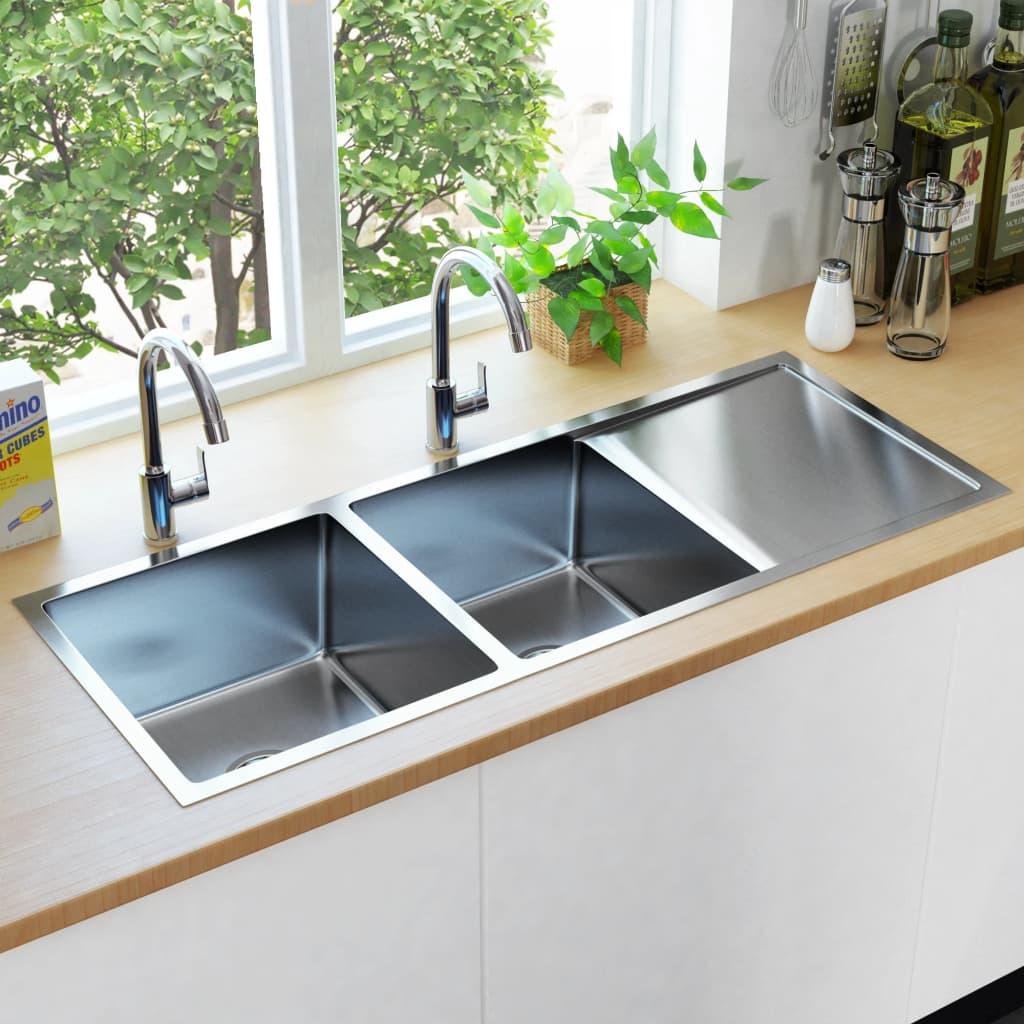 vidaXL Chiuvetă de bucătărie lucrată manual cu sită, oțel inoxidabil imagine vidaxl.ro