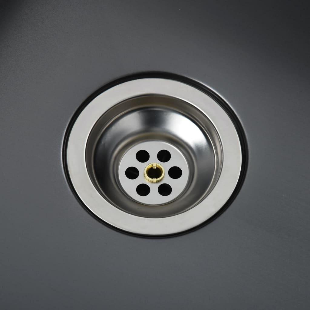 vidaXL Gootsteen met afvoer handgemaakt roestvrij staal zwart