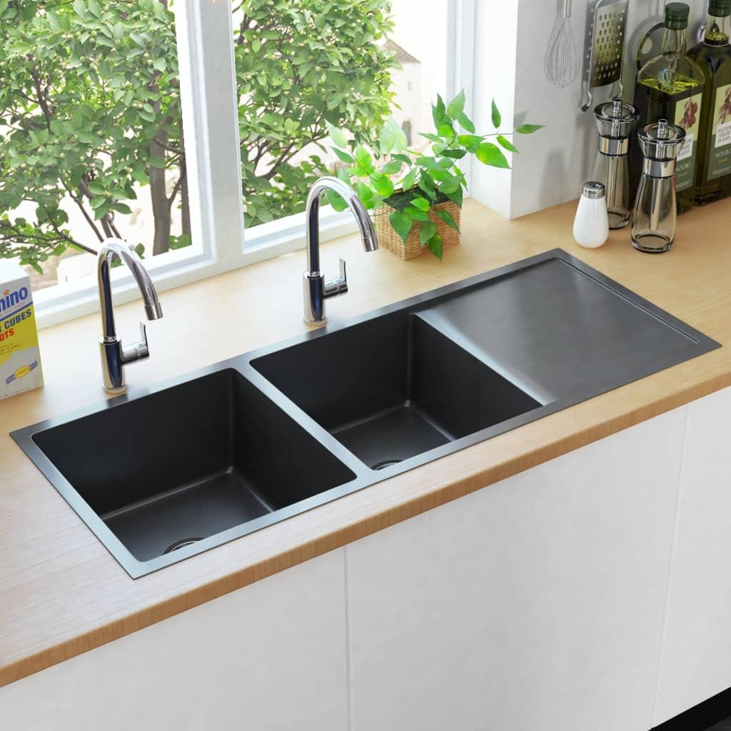 vidaXL Chiuvetă bucătărie lucrată manual cu sită negru oțel inoxidabil imagine vidaxl.ro