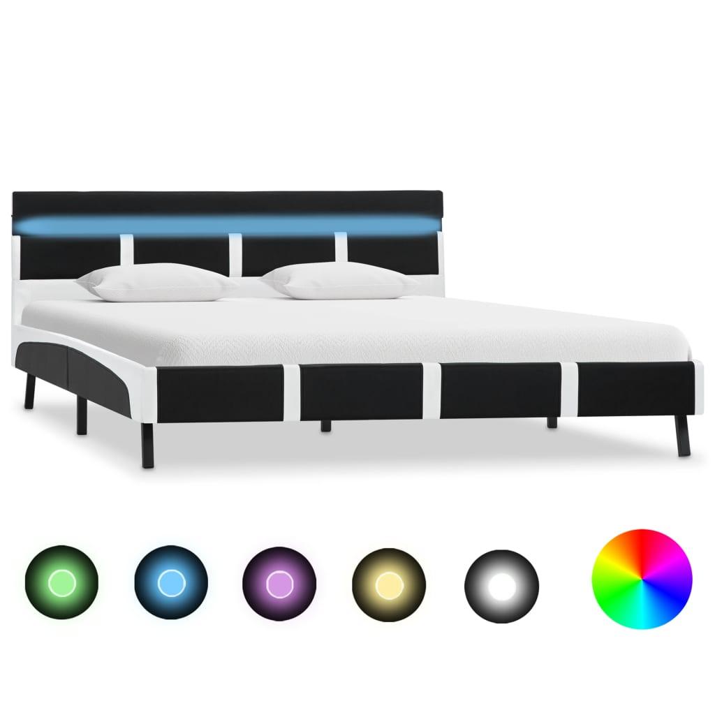 vidaXL Cadru de pat cu LED-uri, negru, 120 x 200 cm, piele ecologică poza vidaxl.ro