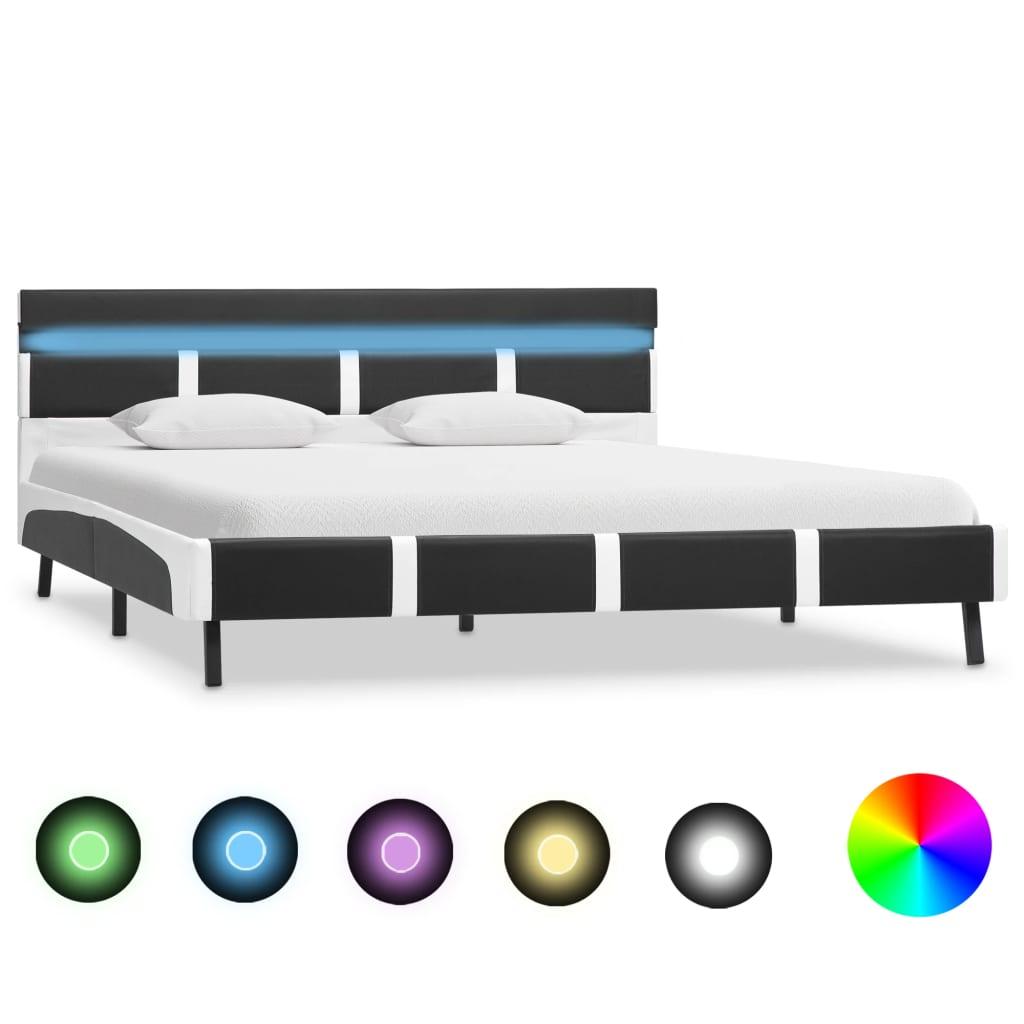 vidaXL Πλαίσιο Κρεβατιού με LED Γκρι 160×200 εκ. από Συνθετικό Δέρμα
