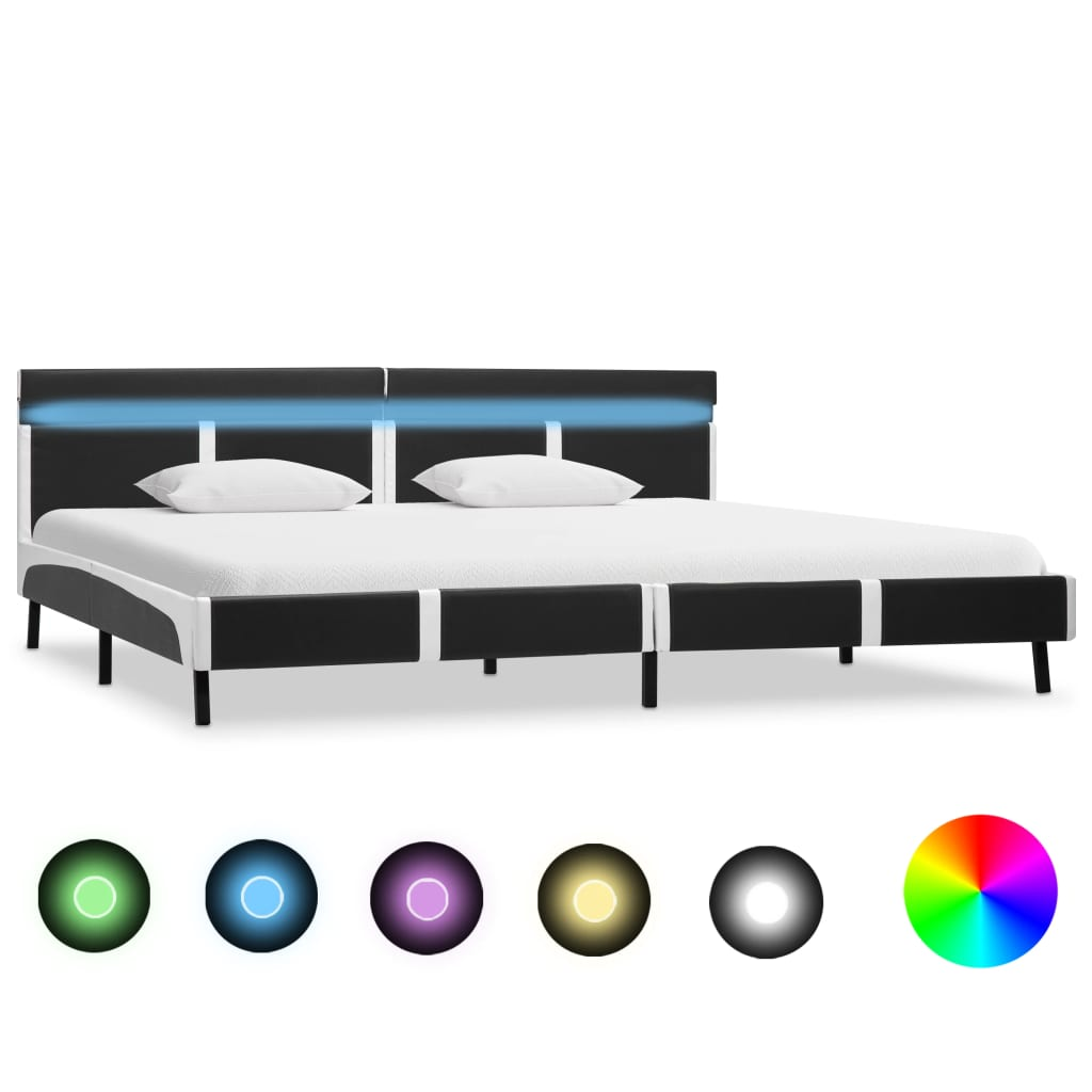 vidaXL Πλαίσιο Κρεβατιού με LED Γκρι 180 x 200 εκ. από Συνθετικό Δέρμα