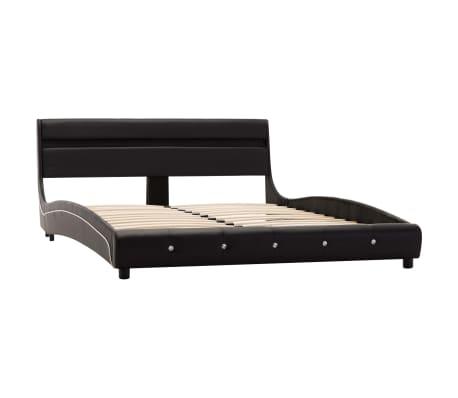 vidaXL Cadre de lit avec LED Noir Similicuir 140 x 200 cm[4/9]