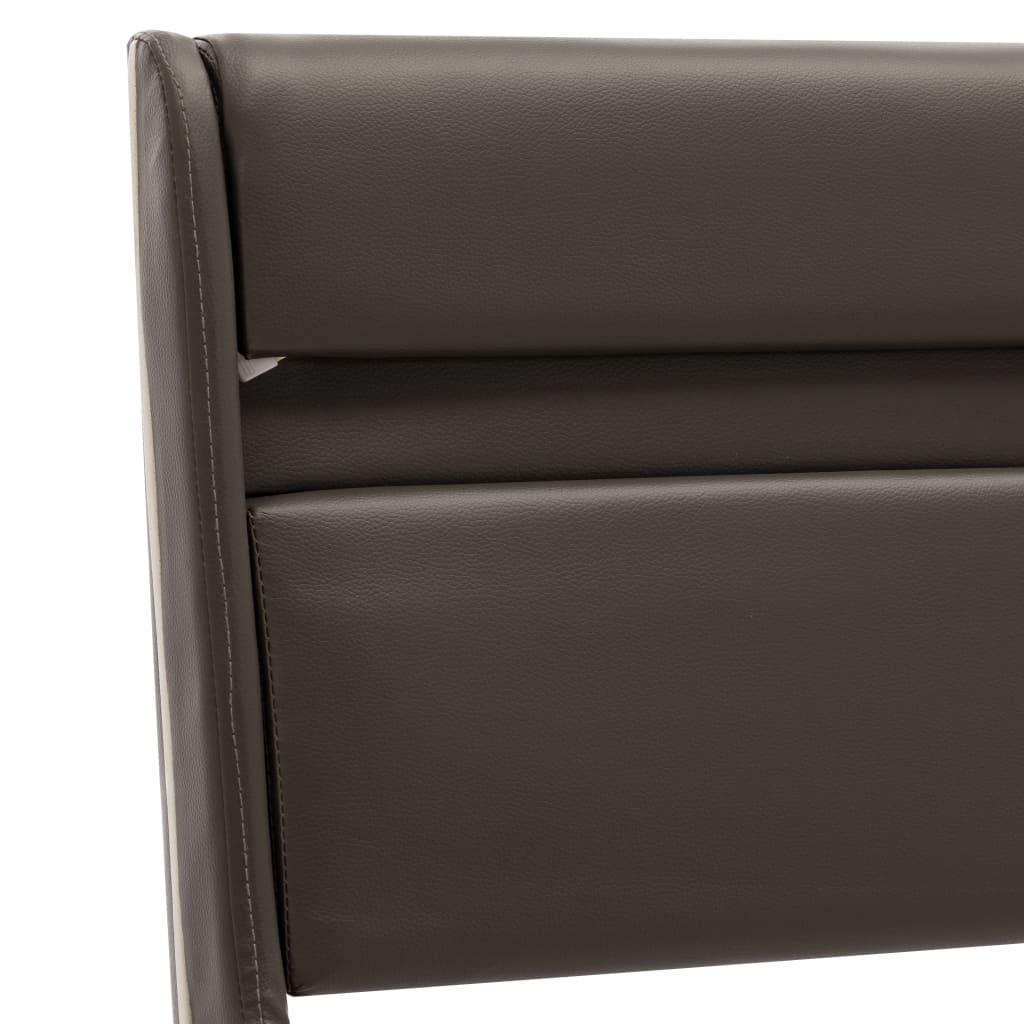 vidaXL Bedframe met LED kunstleer grijs 90x200 cm