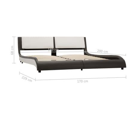 vidaXL Cadre de lit Gris et blanc Similicuir 160 x 200 cm[7/7]