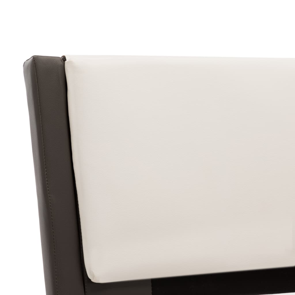 vidaXL Bedframe met LED kunstleer grijs en wit 180x200 cm