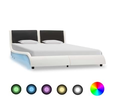 vidaXL Cadre de lit avec LED Blanc et noir Similicuir 120 x 200 cm