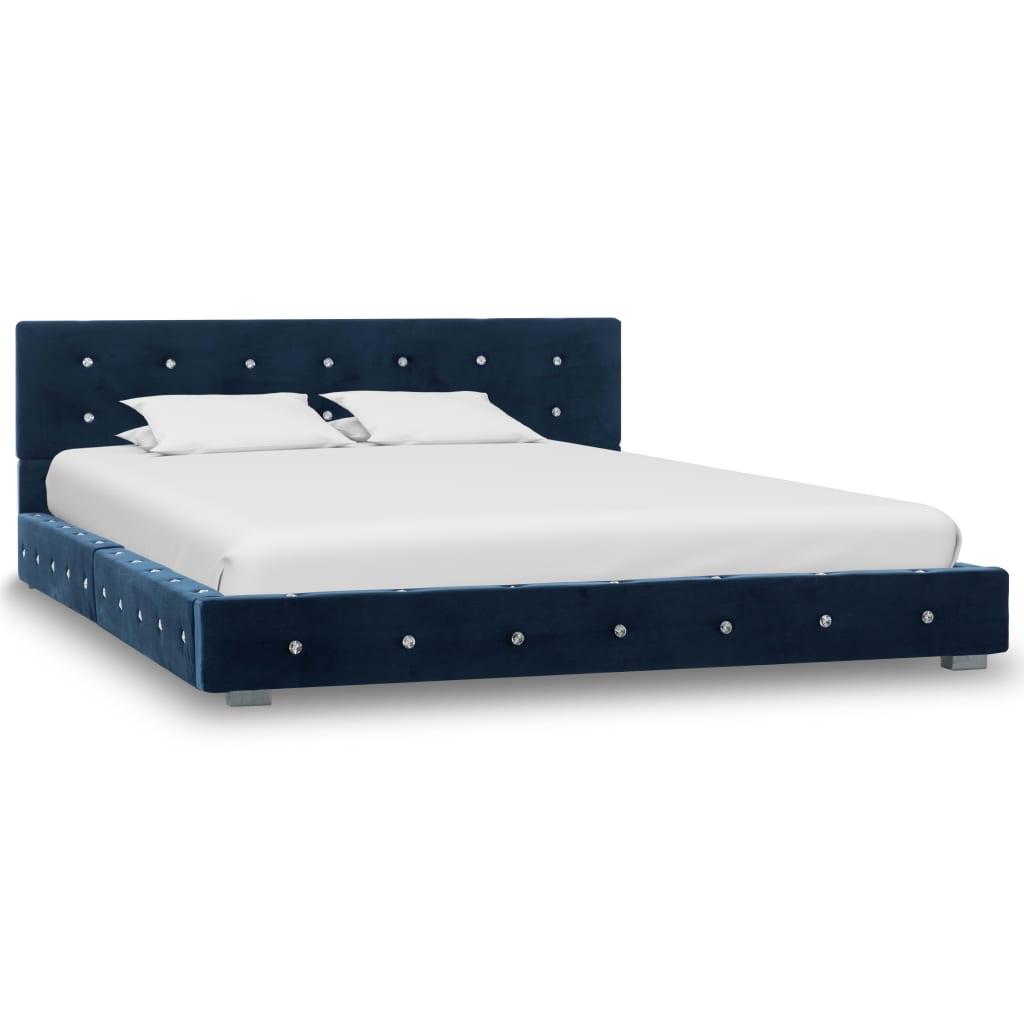 vidaXL Bedframe fluweel blauw 140x200 cm