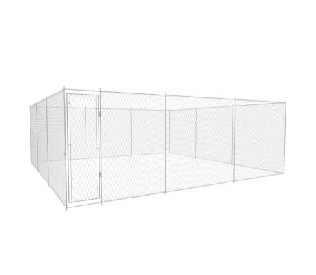 vidaXL Outdoor Dog Kennel Galvanised Steel 18.7'x18.7'x6.1'