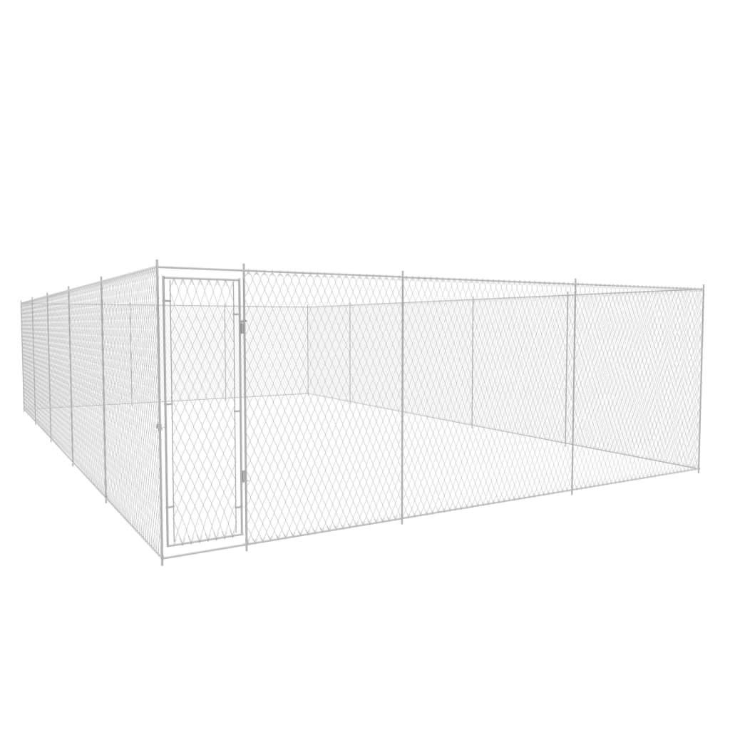 vidaXL Padoc pentru câini de exterior, 950x570x185 cm, oțel galvanizat poza 2021 vidaXL