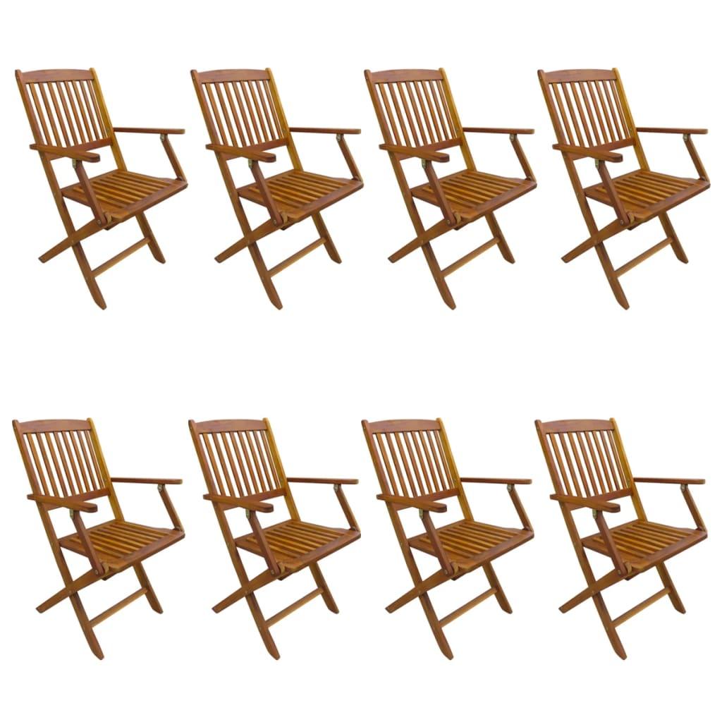 vidaXL Καρέκλες Κήπου Πτυσσόμενες 8 τεμ. από Μασίφ Ξύλο Ακακίας