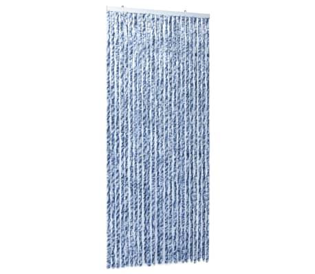 vidaXL Insektsdraperi blå, vit och silver 100x220 cm chenille