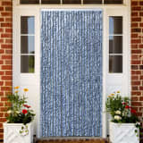 vidaXL Insect Curtain Blue, White and Silver 100x220 cm Chenille
