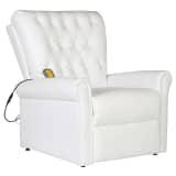 vidaXL Massage Recliner Chair White Faux Leather