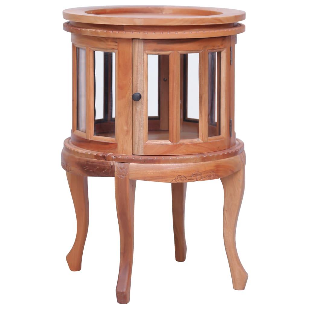 vidaXL Dulap cu vitrină, natural, 50x50x76 cm, lemn masiv de mahon poza 2021 vidaXL