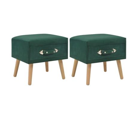 vidaXL Naktiniai staliukai, 2vnt., žali, 40x35x40cm, aks.[1/9]