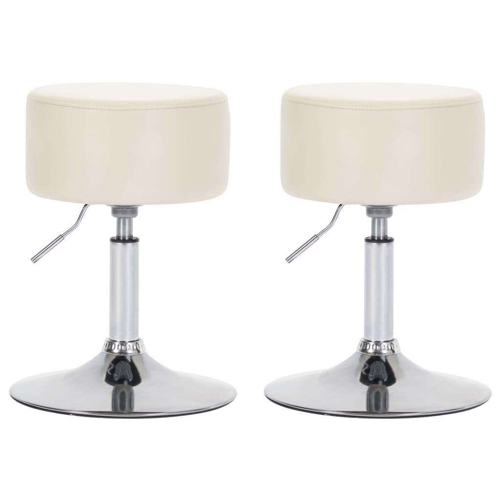 Barové stoličky 2 ks krémové umělá kůže