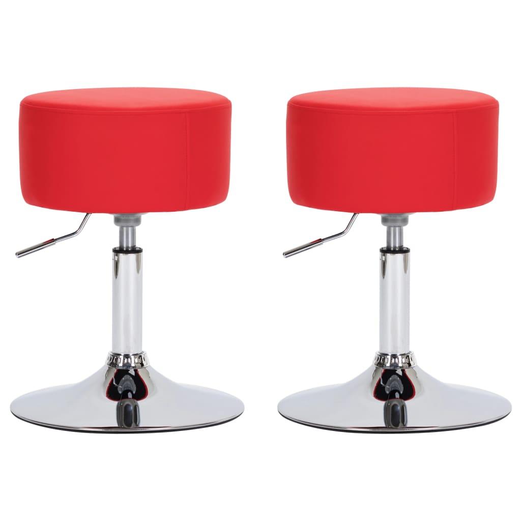 vidaXL Scaune de bar, 2 buc., roșu, piele ecologică poza vidaxl.ro