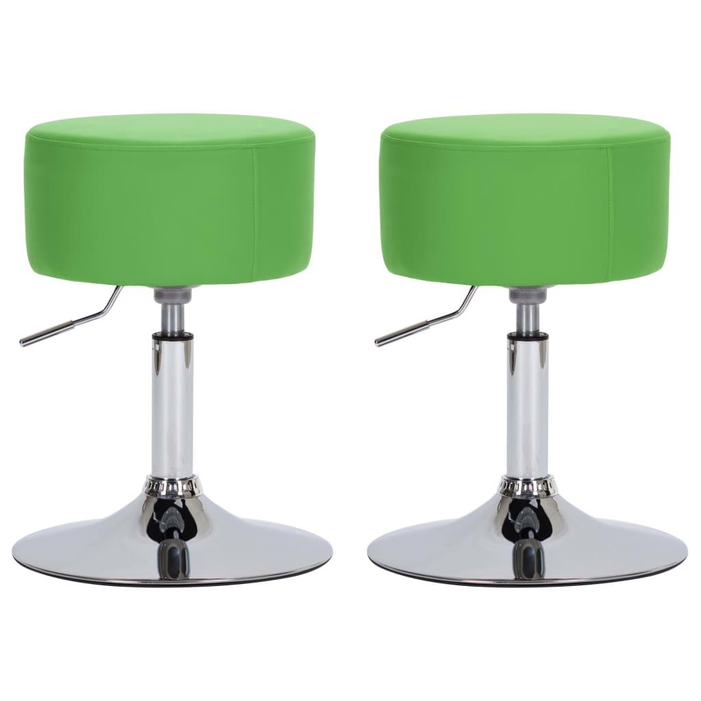 Barové stoličky 2 ks zelené umělá kůže