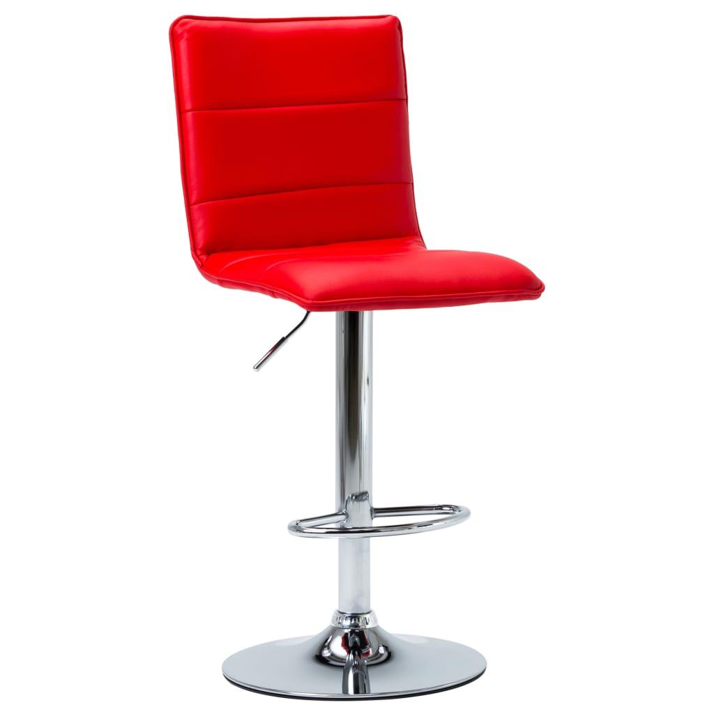 Barová židle červená umělá kůže
