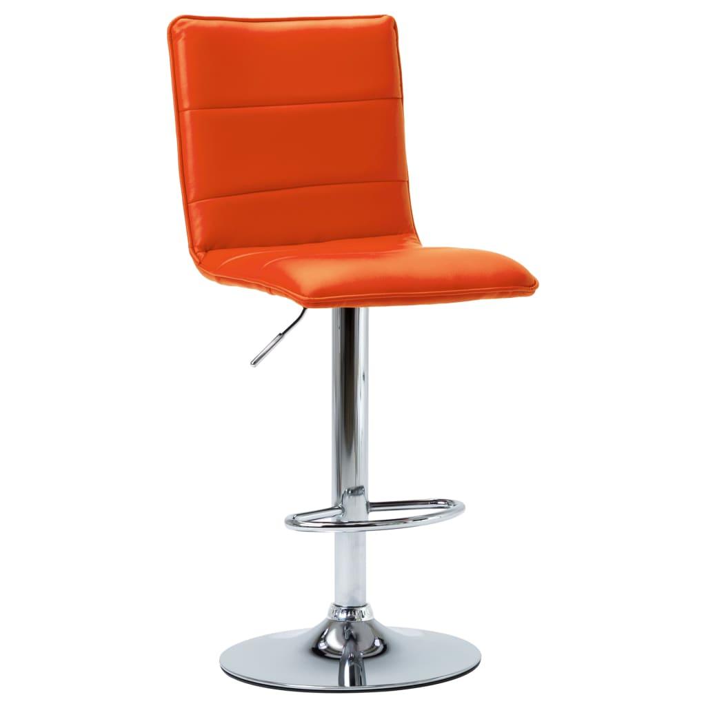 Barová židle oranžová umělá kůže
