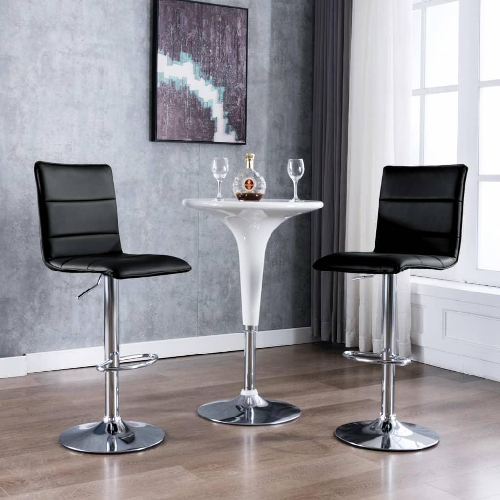 vidaXL Chaise de bar 2 pcs Noir Similicuir