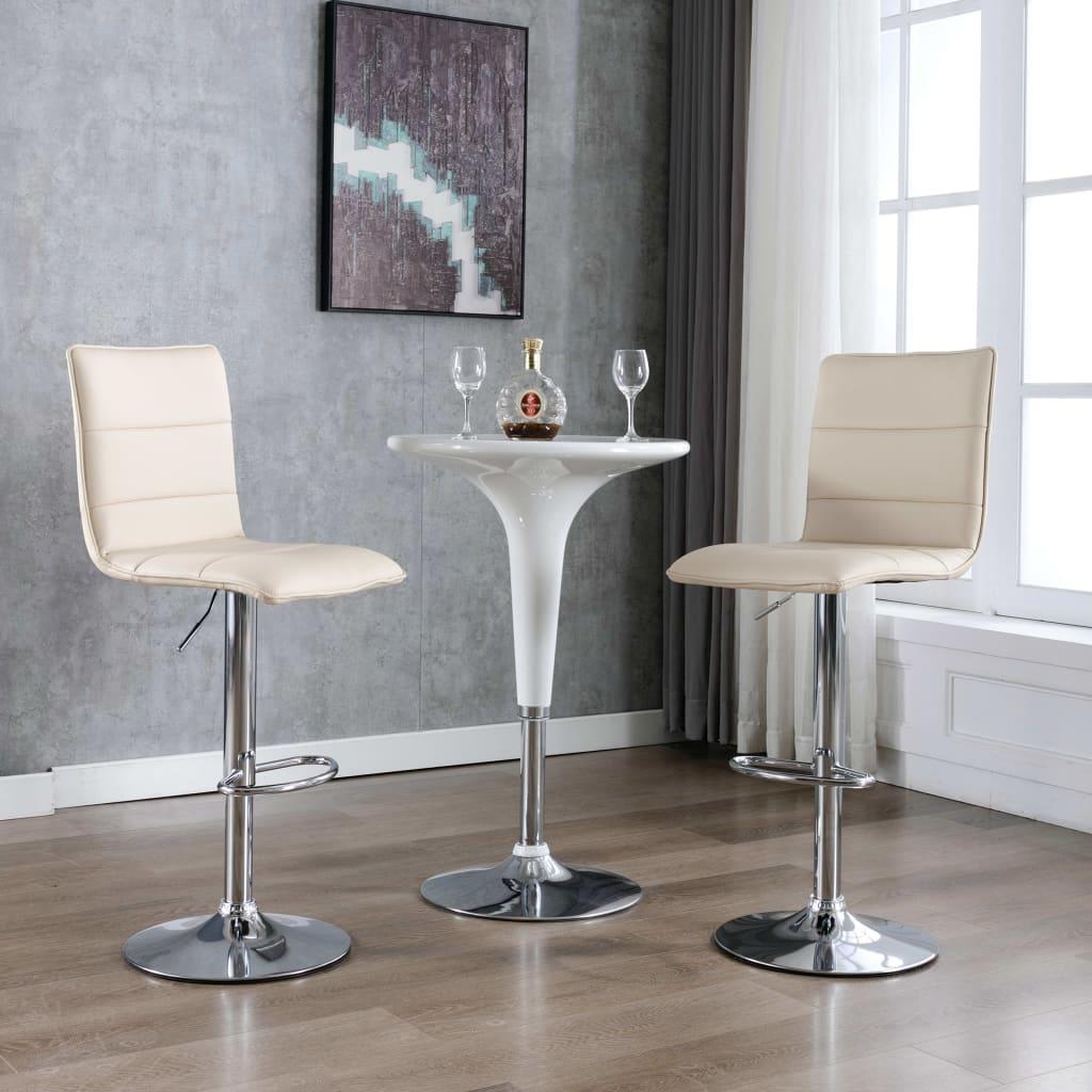 vidaXL Krzesła barowe, 2 szt., kremowe, sztuczna skóra