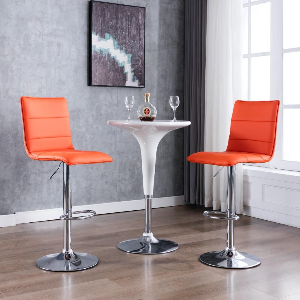 vidaXL Krzesła barowe, 2 szt., pomarańczowe, sztuczna skóra