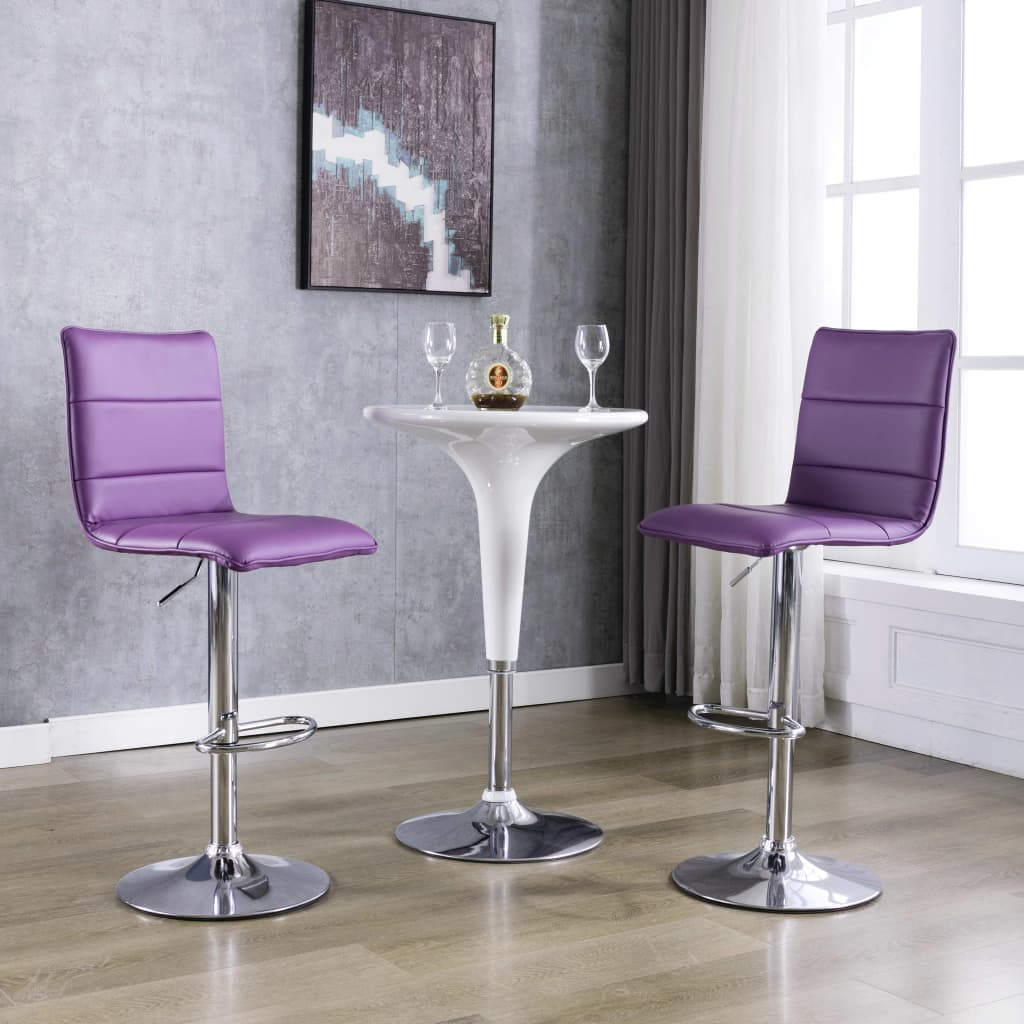 vidaXL Krzesła barowe, 2 szt., fioletowe, sztuczna skóra