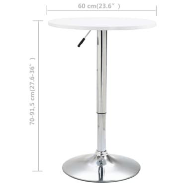 vidaXL Baro stalas, baltos spalvos, MDF, 60 cm skersmens[5/5]