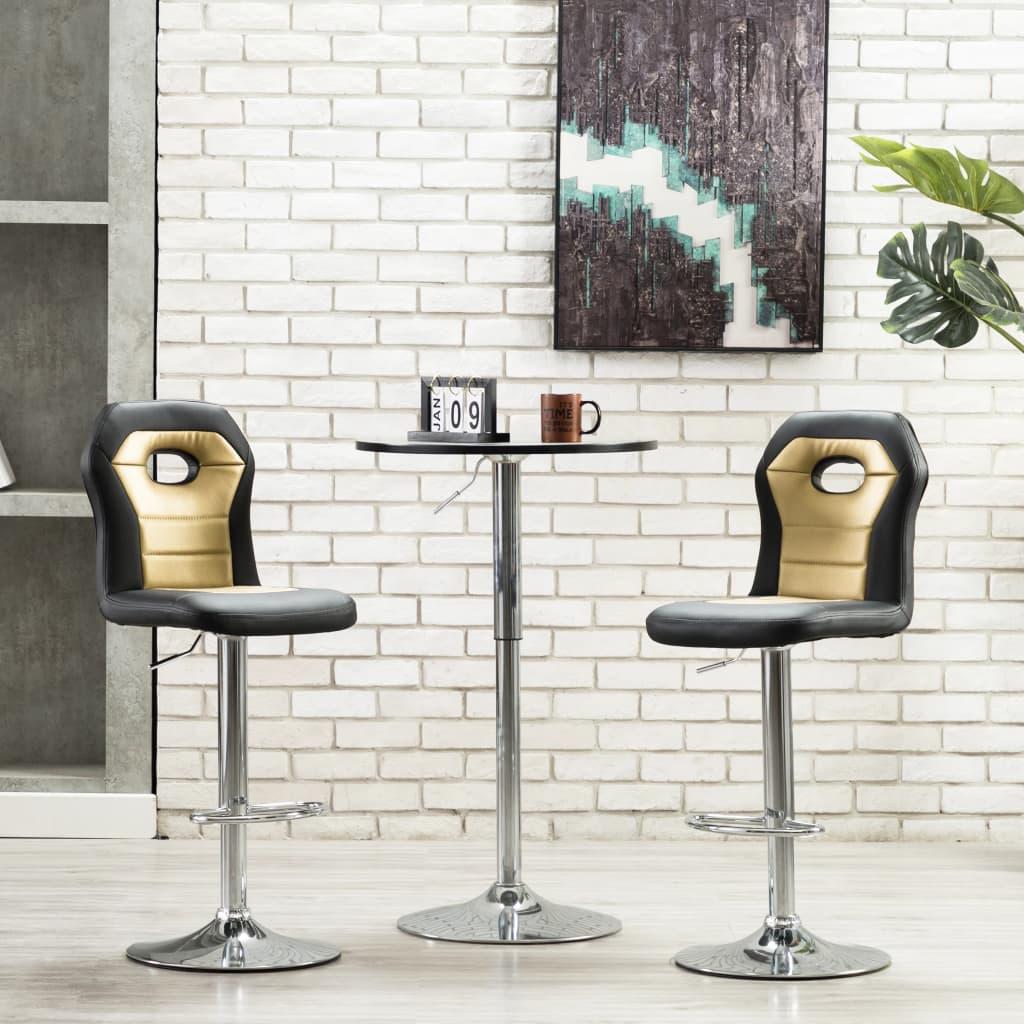 vidaXL Krzesła barowe, 2 szt., złote, sztuczna skóra