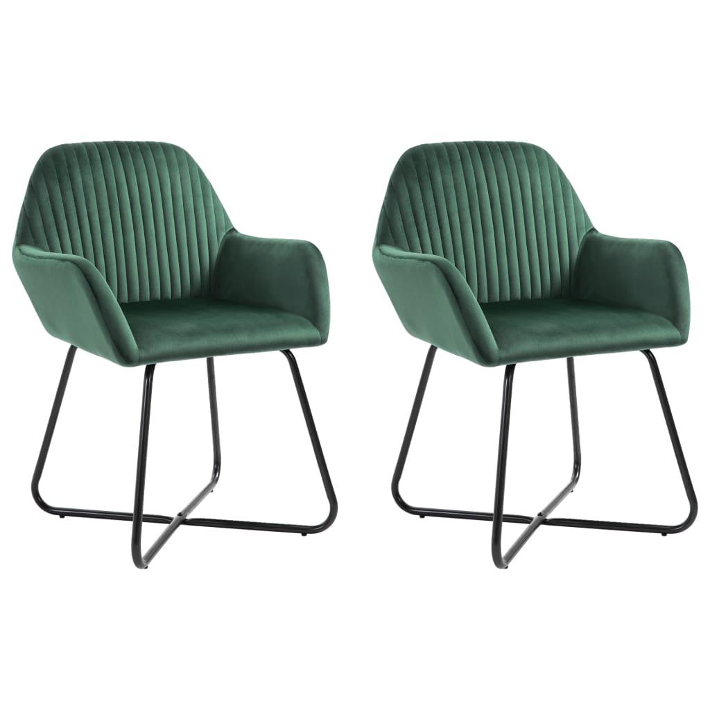 vidaXL Καρέκλες Τραπεζαρίας 2 τεμ. Πράσινες Βελούδινες