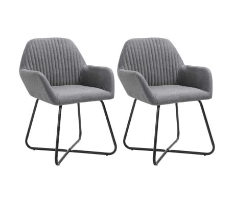 vidaXL Dining Chairs 2 pcs Dark Gray Fabric