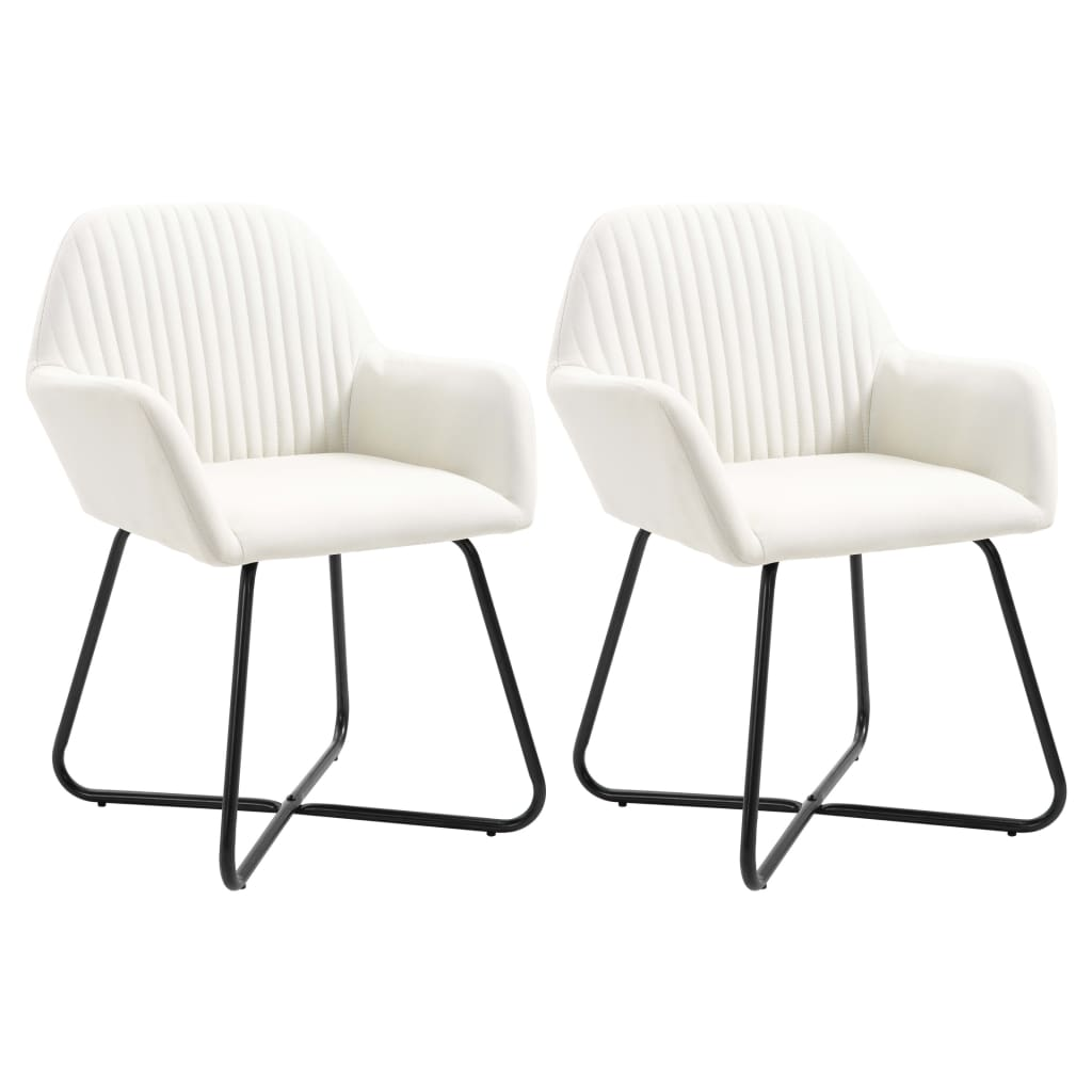 <ul><li>Farbe: Creme</li><li>Material: Stoff und pulverbeschichtete Stahlbeine</li><li>Gesamtmaße: 61 x 61 x 84 cm (B x T x H)</li><li>Sitzbreite: 42 cm</li><li>Sitztiefe: 41,5 cm</li><li>Sitzhöhe vom Boden: 48,5 cm</li><li>Rückenlehn-Höhe: 38,5 cm</li><li>Lieferung umfasst 2 Esszimmerstühle</li><li>Material: Polyester: 100%</li></ul>