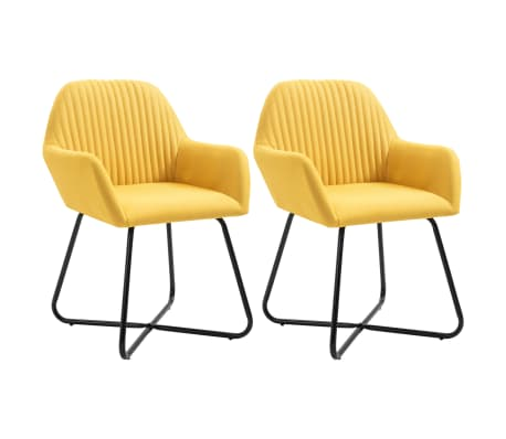 vidaXL Dining Chairs 2 pcs Yellow Fabric