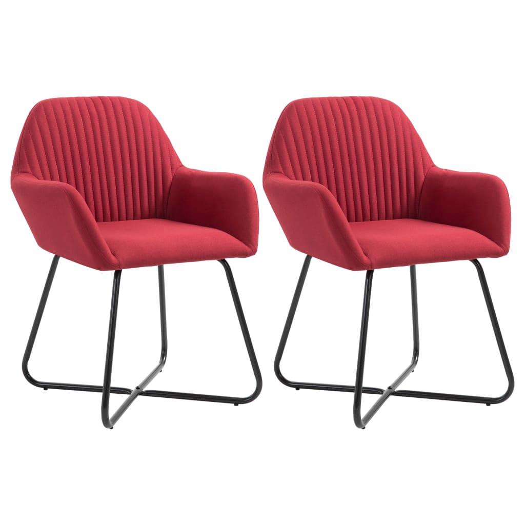 vidaXL Καρέκλες Τραπεζαρίας 2 τεμ. Μπορντό Υφασμάτινες