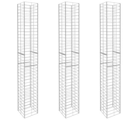 "vidaXL Gabion Baskets 3 pcs Galvanized Steel 9.8""x9.8""x77.6""[2/6]"