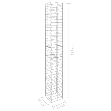 "vidaXL Gabion Baskets 3 pcs Galvanized Steel 9.8""x9.8""x77.6""[6/6]"