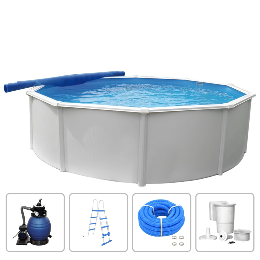 Image of KWAD Set Piscina Steely Deluxe Rotonda 3,6x1,2 m