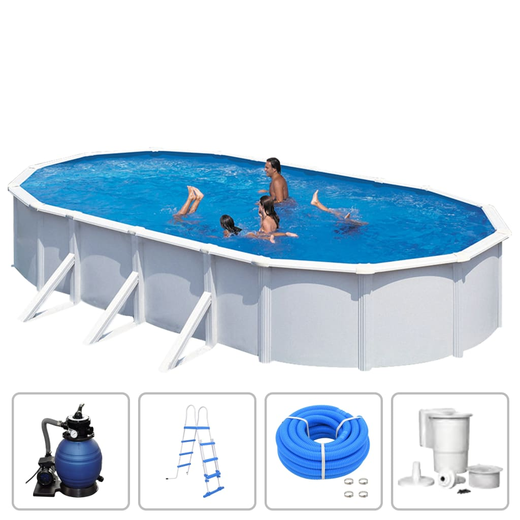 Image of KWAD Set Piscina Steely Deluxe Ovale 7,3x3,6x1,2 m