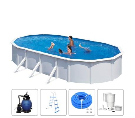 KWAD Ensemble de piscine Steely Deluxe Ovale 7,3x3,6x1,2 m