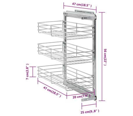 vidaXL Ištraukiamas vielinis virtuvės krepšys, 47x25x56cm, 3 lentynos[9/9]