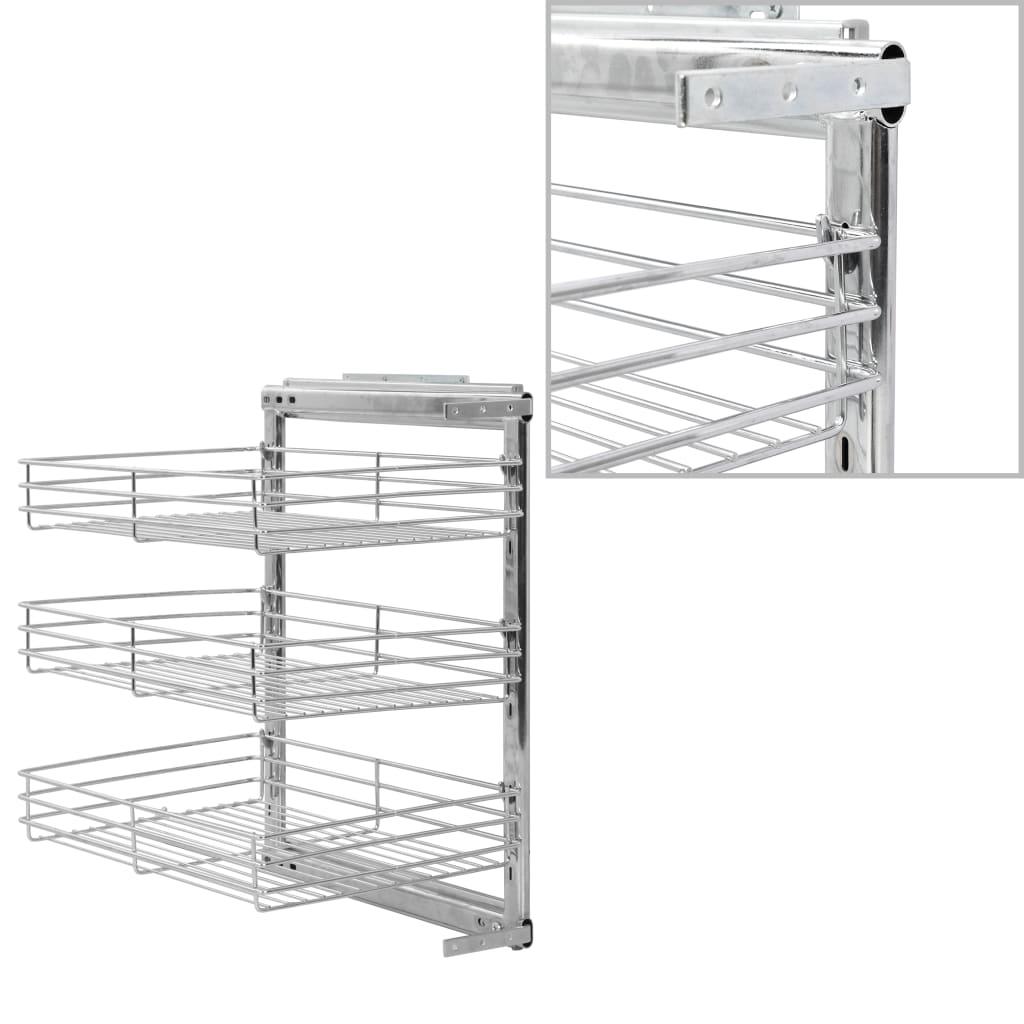 3patrový výsuvný kuchyňský drátěný koš stříbrný 47 x 35 x 56 cm