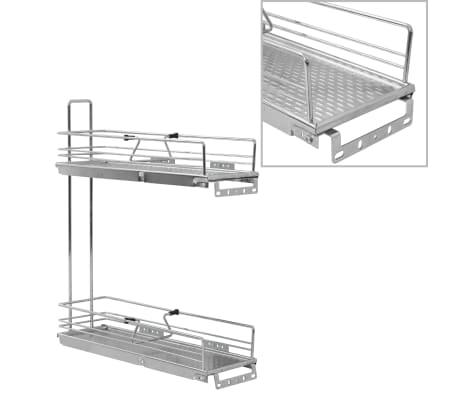 vidaXL udtrækkelig trådnetskurv til køkken 2 niveauer 47x15x54,5 cm sølv
