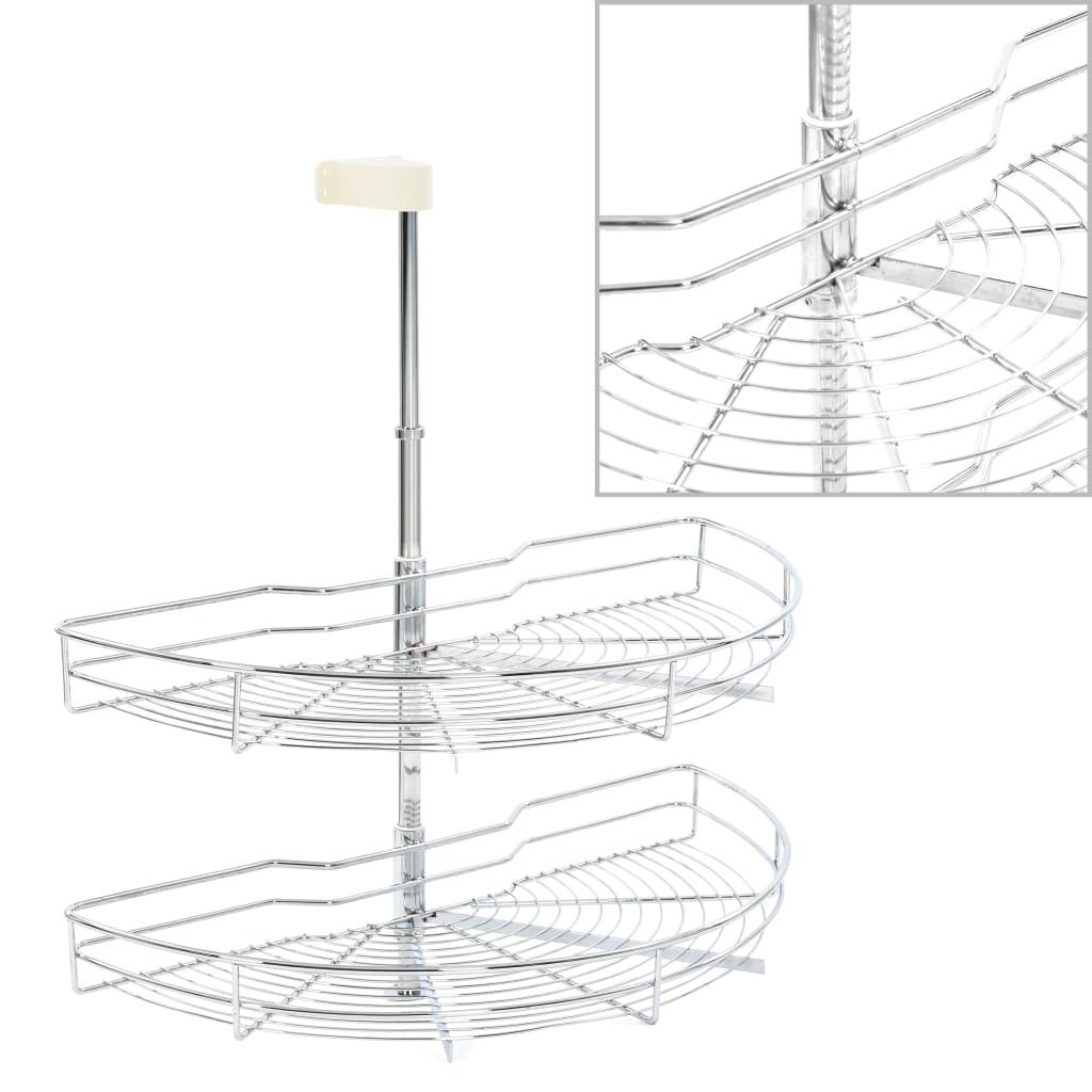 2patrový kuchyňský drátěný koš stříbrný 180 stupňů 75x38x80 cm