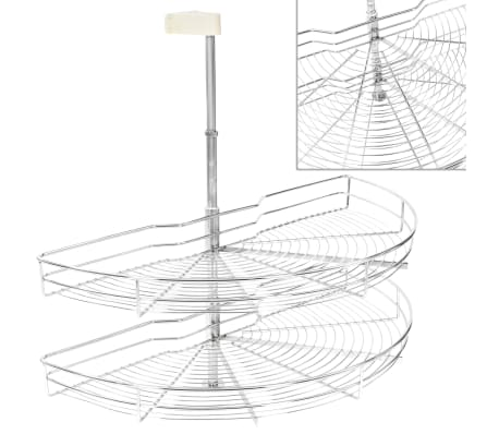 vidaXL 2 riiuliga köögi traatkorv hõbedane 180 kraadi 85 x 44 x 80 cm