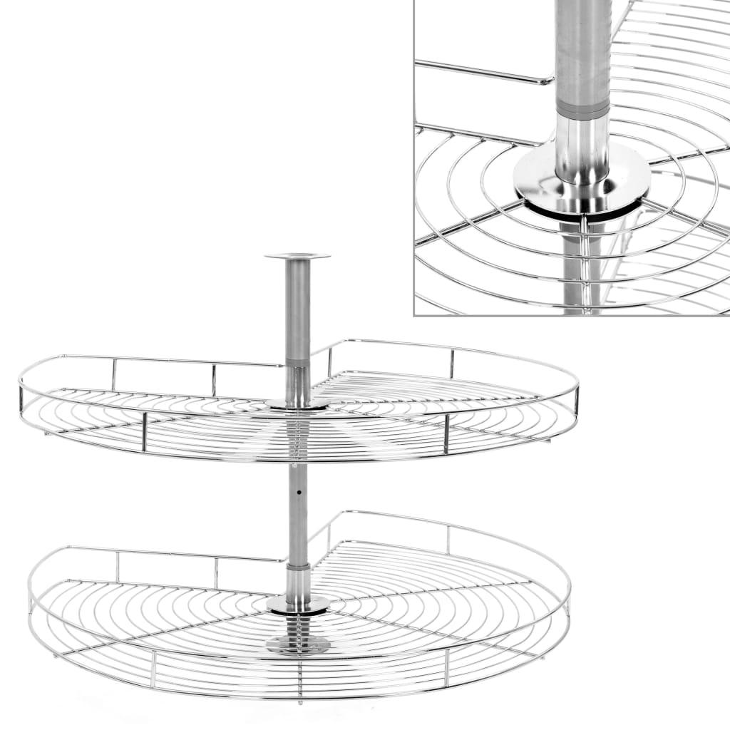 vidaXL Coș sârmă bucătărie 2 rafturi, 270 grade, argintiu, 82x82x80 cm poza 2021 vidaXL