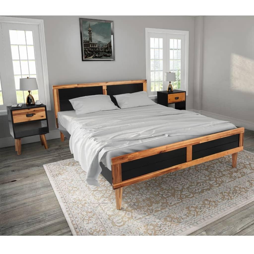 vidaXL Cadru de pat cu noptiere, lemn masiv de acacia imagine vidaxl.ro