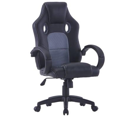 vidaXL Cadeira de gaming couro artificial cinzento