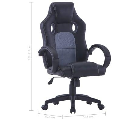 vidaXL Gamingstoel kunstleer grijs[8/8]